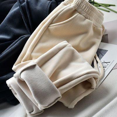米白色加绒休闲裤女秋冬直筒宽松百搭显瘦2020新款哈伦裤老爹裤子