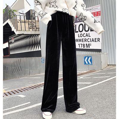2020春秋冬季新款阔腿裤女高腰坠感金丝绒运动休闲宽松直筒长裤子