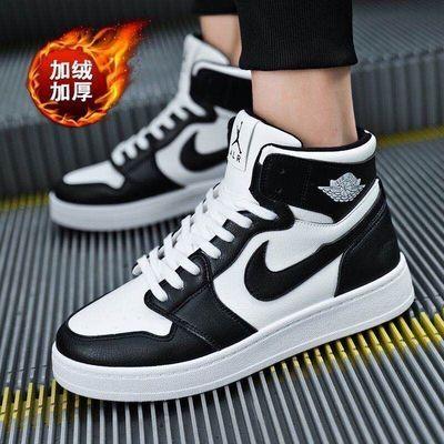 男鞋秋季新款鞋子男韩版潮流AJ高帮鞋男休闲运动板鞋空军一号板鞋