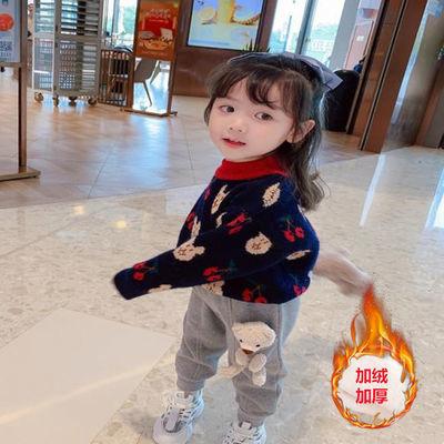儿童针织衫外套2020秋冬新款加绒加厚女宝宝毛衣女童套头上衣宽松