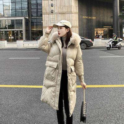 【真羽绒】2020新款羽绒服女中长款韩版宽松版羽绒外套连帽大毛领