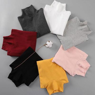 大童少男女学生高领圆领打底衫男童女童纯棉长袖T恤2020春秋新款