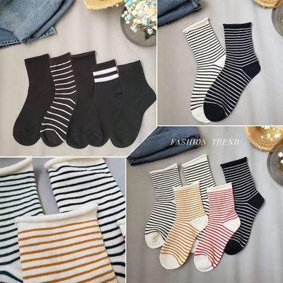 2-5双袜子女秋冬款韩版中筒女袜ins百搭黑色袜子条纹棉袜女堆堆袜