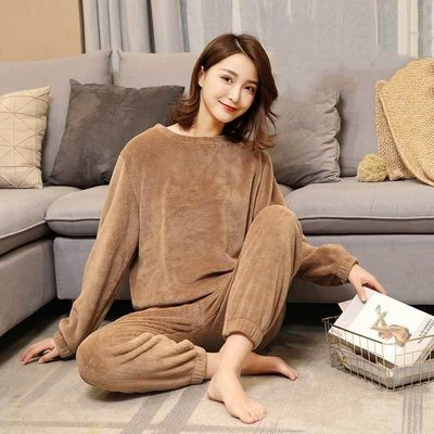 珊瑚绒睡衣女冬加厚加绒外穿长袖女士法兰绒睡衣女冬季套装女学生