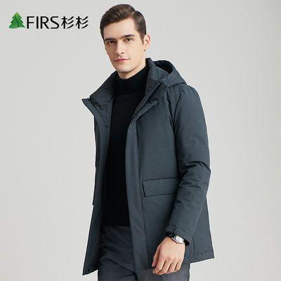 杉杉【90%白鸭绒】冬季保暖加厚连帽运动羽绒服男防寒工装款外套