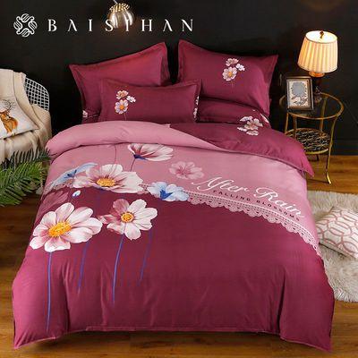 百思寒加厚大版磨毛四件套床上用品被罩双人床单被套宿舍三件套