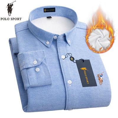 89286/POLO SPORT冬季男士保暖衬衫加绒加厚休闲牛津纺长袖衬衣打底衬衫
