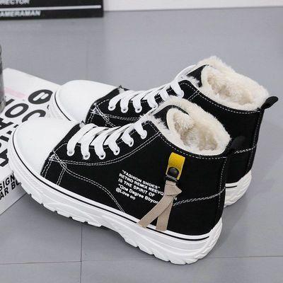 84307/高帮帆布鞋女鞋秋冬季2021新款韩版冬鞋子学生百搭加绒加厚二棉鞋