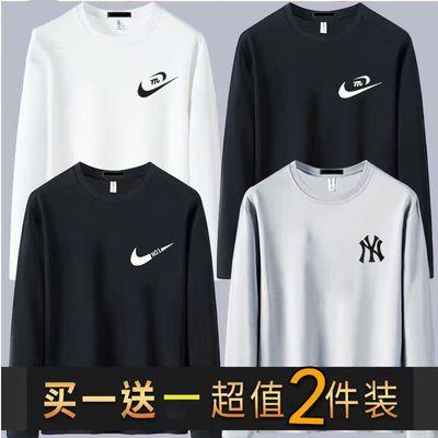 【高品质】男士打底衫秋装男长袖t恤上衣韩版大码圆领运动宽松T恤