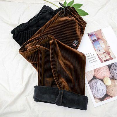 裤子女冬季加绒灯芯绒裤中老年人加绒加厚直筒裤子女宽松显瘦棉裤