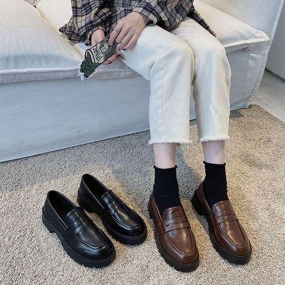 厚底防滑JK小皮鞋女英伦风2020新款秋冬季加绒保暖黑色棉鞋女单鞋