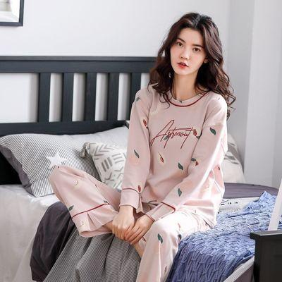 双面棉料睡衣女士春秋冬季长袖长裤套装大码韩版宽松可外穿家居服