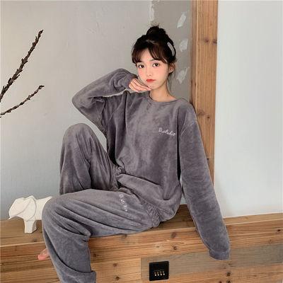 睡衣女秋冬季珊瑚绒加绒加厚保暖暖裤套装学生情侣休闲外穿家居服