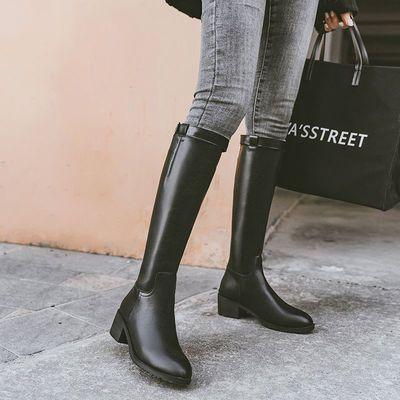 长筒靴女骑士靴子2020年新款中筒靴加绒高筒皮靴高跟不过膝长靴女
