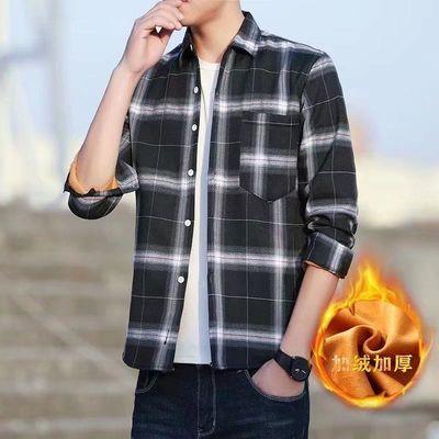 秋冬季男士长袖格子保暖衬衫男加绒加厚上衣中年休闲韩版潮流衬衣