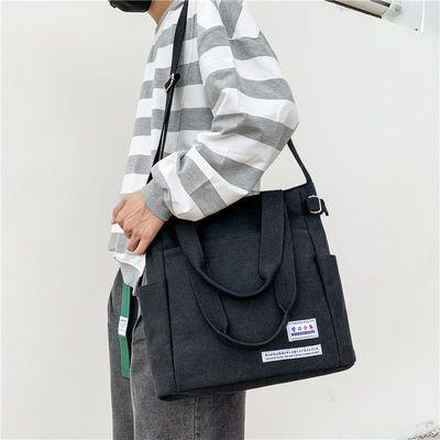 日系帆布包男大容量复古学生单肩包潮酷工装男生休闲斜挎包邮差包