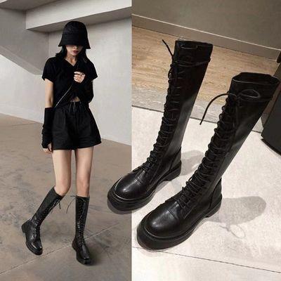 长靴骑士长筒马丁靴女2021春秋新款英伦风瘦瘦不过膝中筒长筒单靴