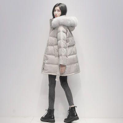 女士羽绒服2020年新款女冬中长款韩版收腰时尚白鸭绒大毛领外套潮