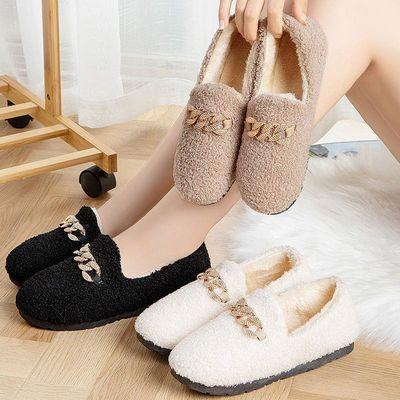 豆豆鞋女秋冬季韩版保暖厚底新款毛毛鞋平底百搭棉鞋加绒妈妈外穿