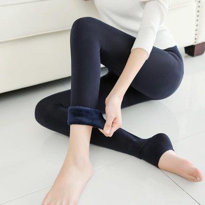 加绒加厚珍珠绒打底裤秋冬新款踩脚保暖外黑色肤色穿透肉一体踩脚