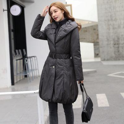 清仓特价灰色中长款羽绒服女时尚修身腰带款冬装加厚保暖双领外套