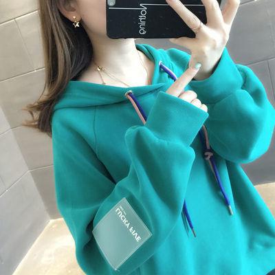 韩国纯色加绒卫衣女士秋冬新款宽松加厚卫衣棒球服学生外套