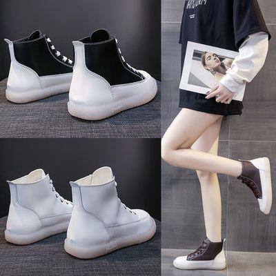平底高帮板鞋女学生小白鞋2020年秋冬新款加绒时尚休闲运动鞋子女