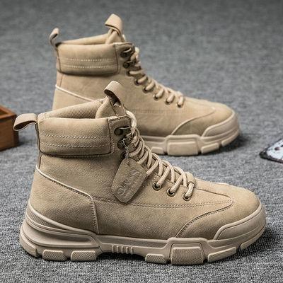 【单棉可选】马丁靴男秋季2020新款复古英伦风高帮靴子男士工装靴