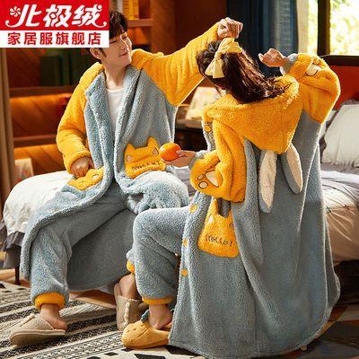 北极绒情侣睡衣女冬珊瑚绒加长款可爱法兰绒加绒加厚外穿睡袍男士