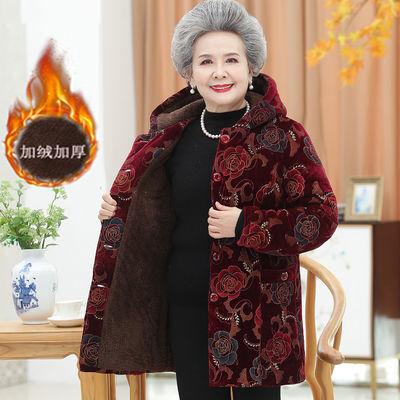 中老年女装冬装棉服外套奶奶装连帽金丝绒棉衣加绒加厚老年人棉袄