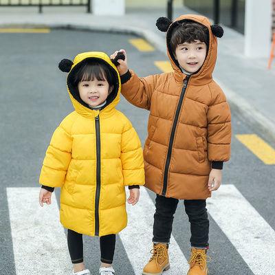 儿童冬装棉衣加厚中长款连帽男女童棉服宝宝棉袄外穿冬装外套