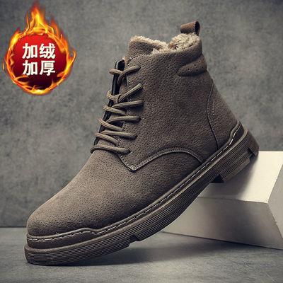 【单棉可选】男鞋2020秋新款马丁靴时尚休闲皮鞋高帮靴子潮流男靴