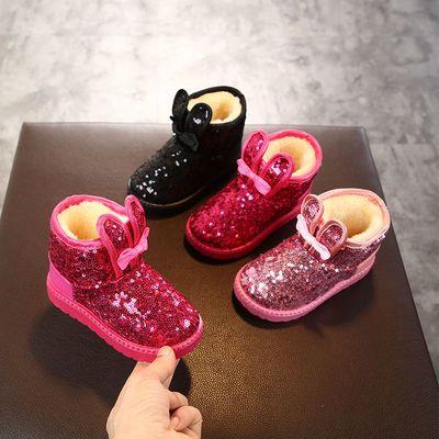 女童雪地靴加厚冬季新款中筒棉靴亮片防水防滑女孩子棉靴2岁11岁
