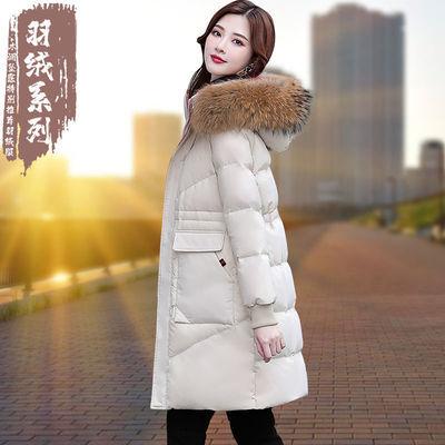 啄木鸟中长款白鸭绒羽绒服女2020冬季冬天新款韩版真毛领加厚外套