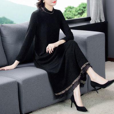 2020新款遮肉针织长袖加绒连衣裙女高弹力冬装打底衫中长款外套女