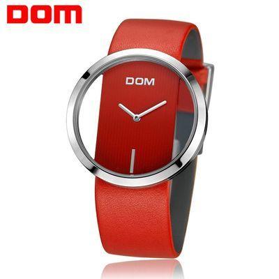 新款美国DOM手表女大表盘防水简约女士网红石英表情侣气质腕表
