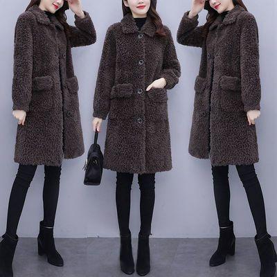 2020冬季新款韩版仿羊羔毛绒宽松外套女中长款加厚保暖一体大衣潮