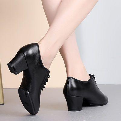 秋冬真皮拉丁舞鞋女成人中跟新款跳舞鞋广场舞鞋外穿水兵交谊舞鞋