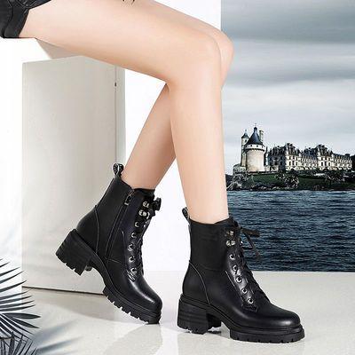紅l青l蜒高跟马丁靴女2020秋冬新款真皮短靴厚底粗跟英伦加绒马靴