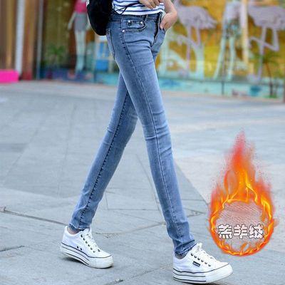 秋冬季加绒牛仔裤女小脚弹力修身学生韩版新款高腰显瘦紧身长裤子