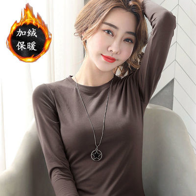 纯棉2020新款长袖t恤纯色圆领修身打底衫女冬季百搭内搭白色加绒