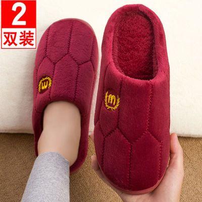 买一送一冬季室内棉拖鞋女韩版情侣居家用防滑厚底保暖毛毛拖鞋男
