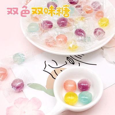 网红双味水果糖批发硬糖混合多口味零食高颜值少女心糖果喜糖年货