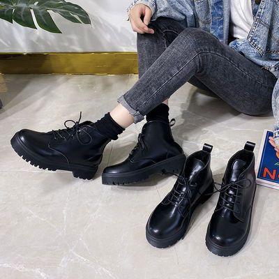 马丁靴女2020新短款小皮鞋女秋冬学生短靴牛仔配厚底增高女鞋百搭