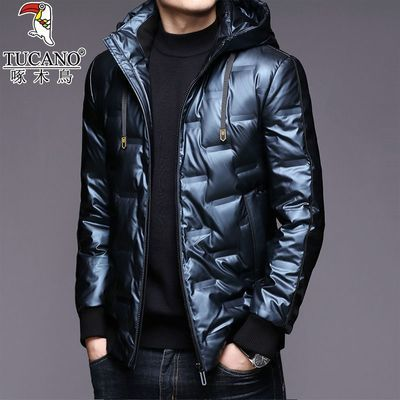 啄木鸟羽绒服男加厚保暖连帽外套时尚韩版潮流亮面白鸭绒上衣