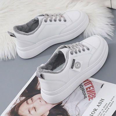 小白鞋女2020秋冬季新款学生韩版百搭低帮加绒厚底增高休闲板鞋女