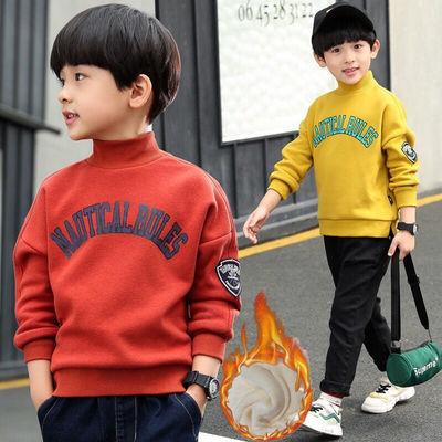 男童加绒卫衣秋冬装新款儿童加厚冬季上衣中大童韩版童装打底衫潮