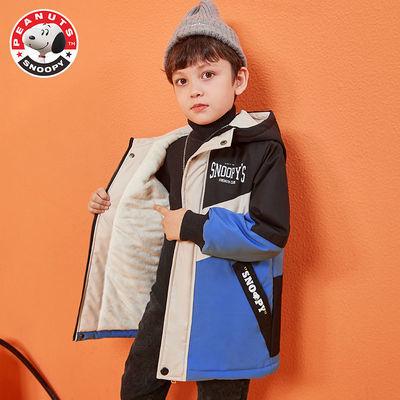 史努比童装男童加绒加厚冬装棉服外套2020新款儿童中长款冬款棉服
