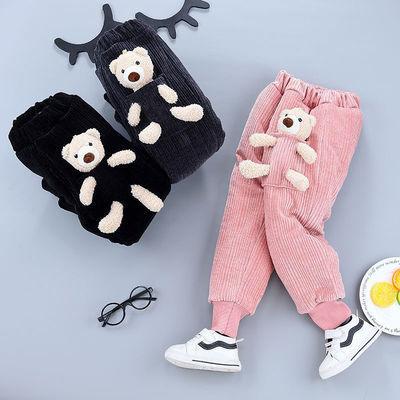 儿童冬季三层加厚男女童布袋熊条绒裤棉裤中小童保暖运动外穿冬装