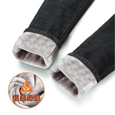 【80%棉】冬季加绒牛仔裤女高腰加厚保暖韩版弹力显瘦小脚裤子